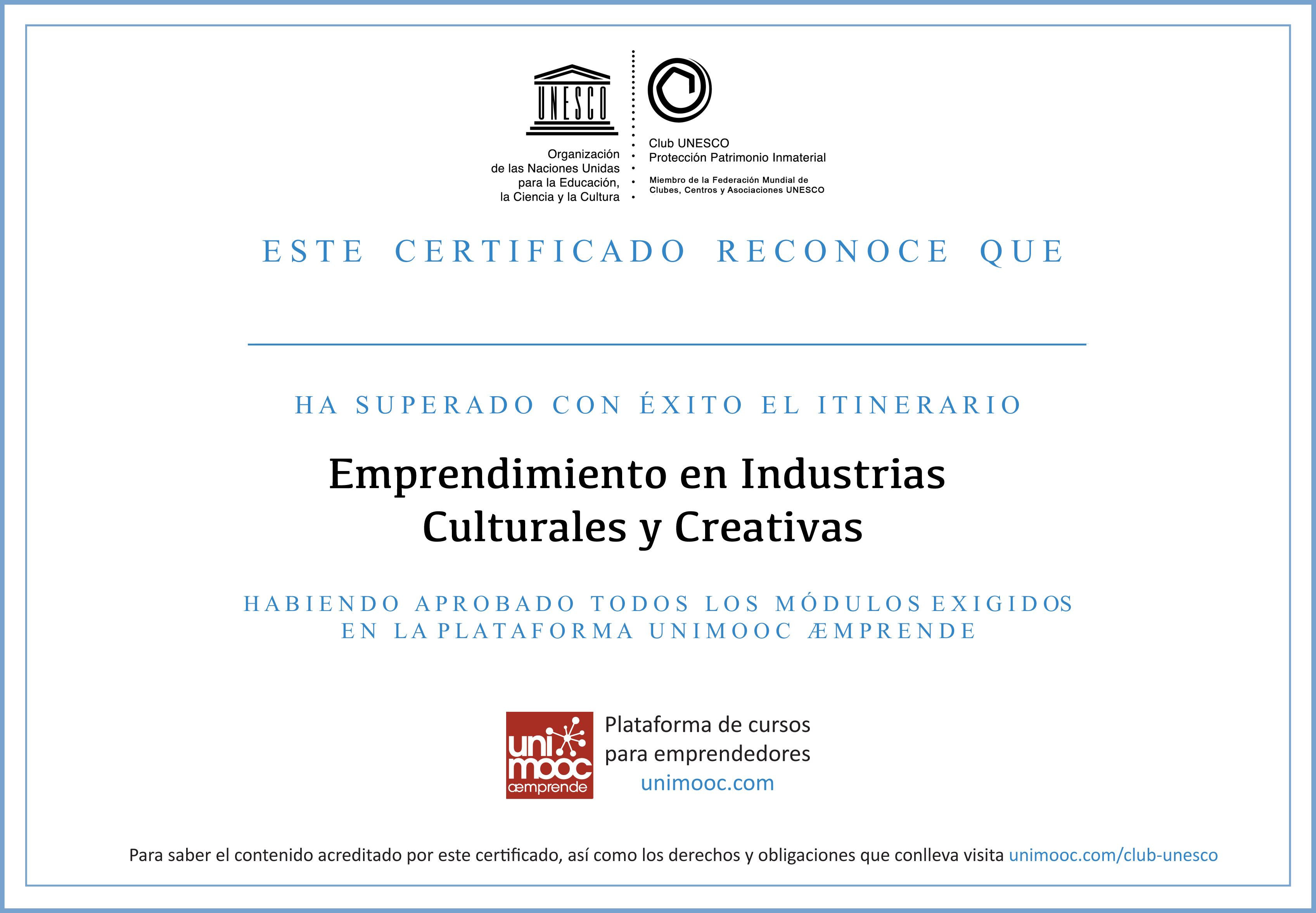 Certificado Club-UNESCO